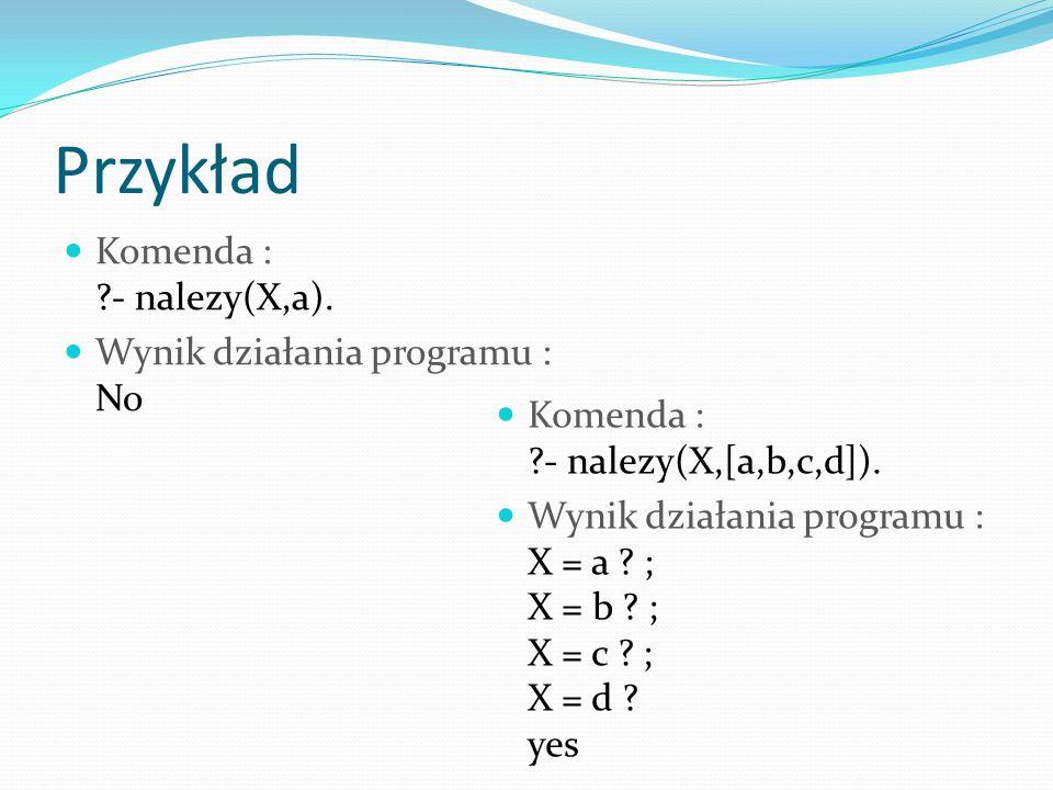 Przykład Komenda : - nalezy(X,a). Wynik działania programu : No Komenda : - nalezy(X,[a,b,c,d]).