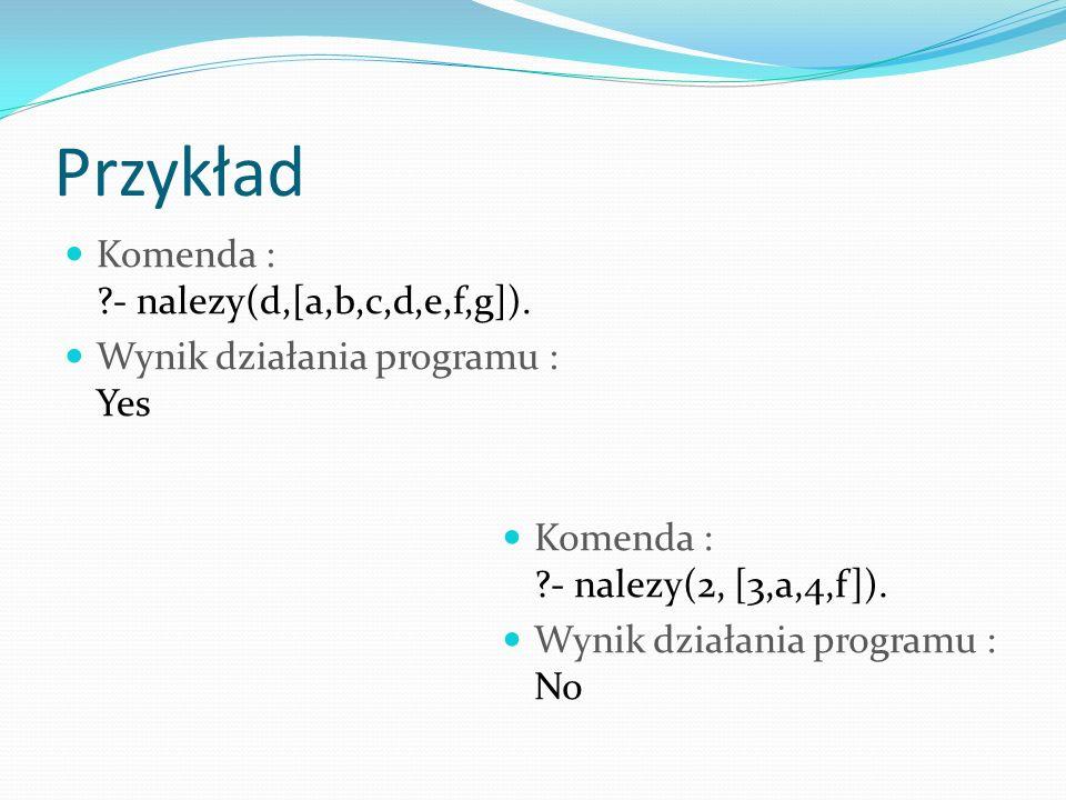 Przykład Komenda : - nalezy(d,[a,b,c,d,e,f,g]).