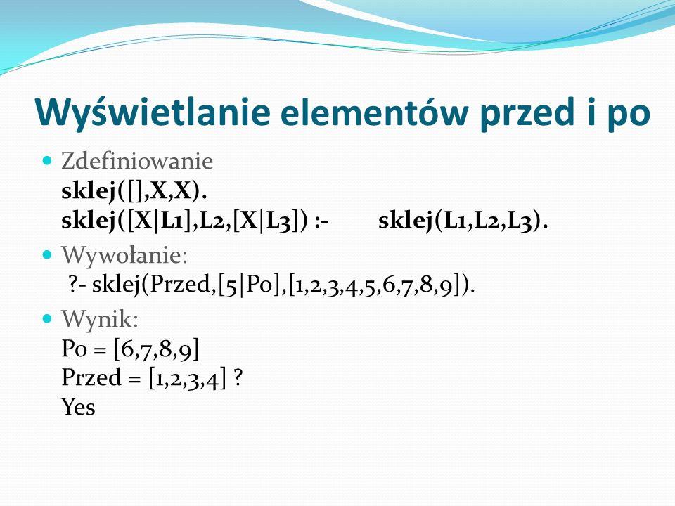 Wyświetlanie elementów przed i po Zdefiniowanie sklej([],X,X).