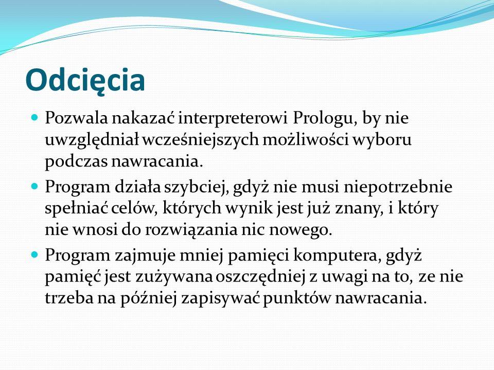 Odcięcia Pozwala nakazać interpreterowi Prologu, by nie uwzględniał wcześniejszych możliwości wyboru podczas nawracania.
