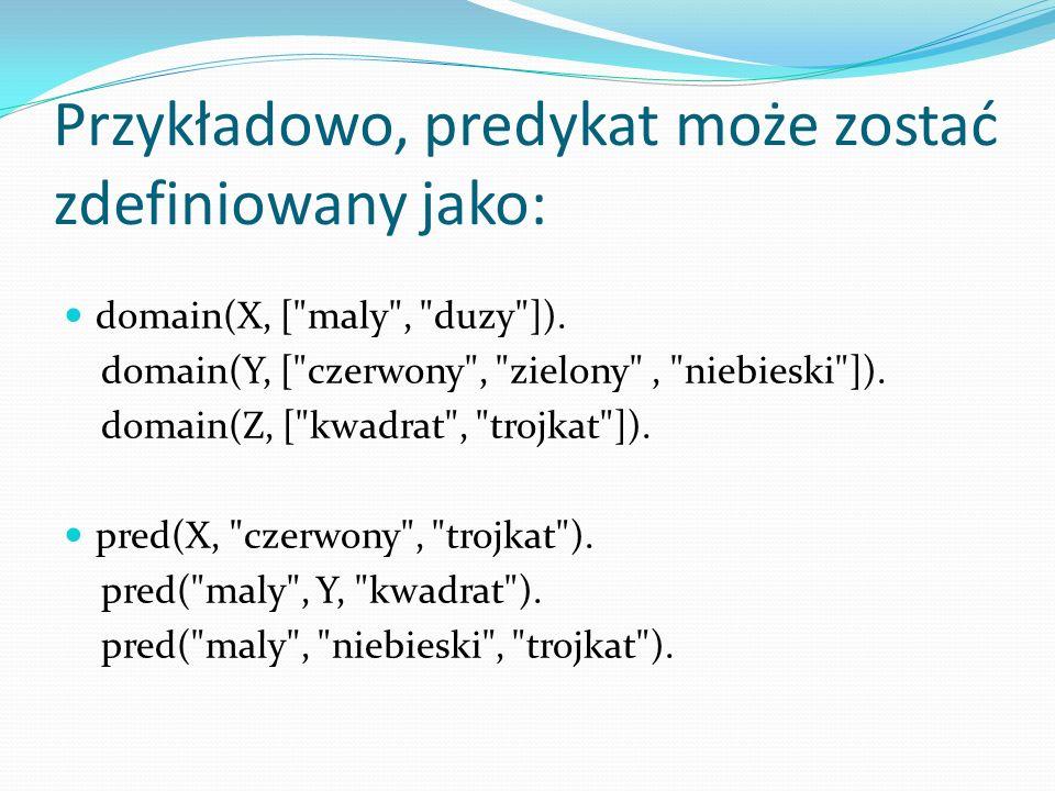 Przykładowo, predykat może zostać zdefiniowany jako: domain(X, [ maly , duzy ]).