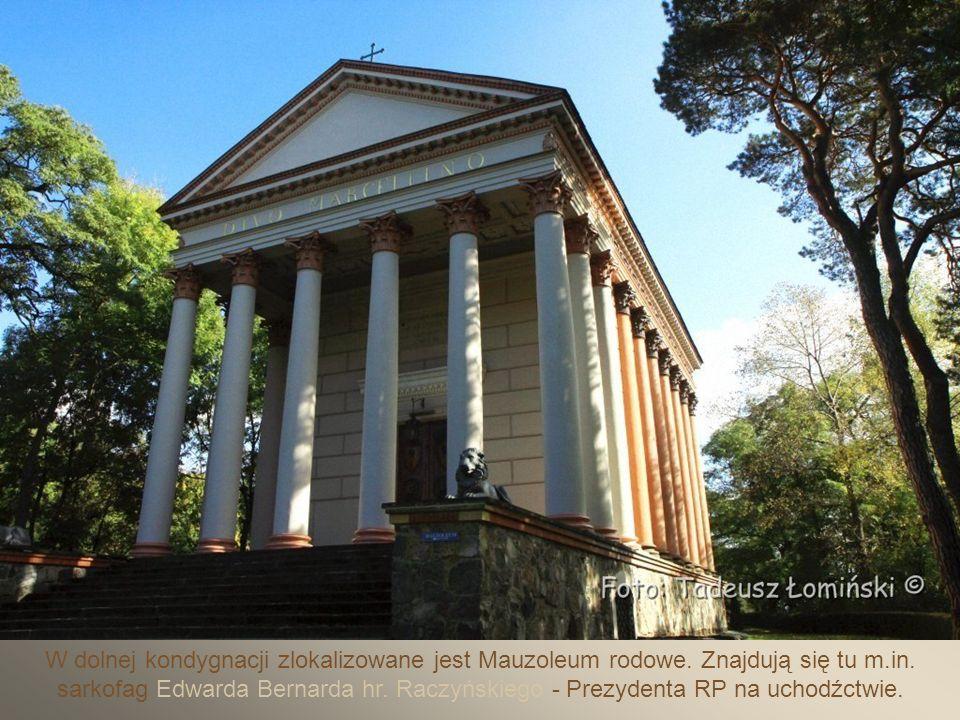 Kaplica p.w.św.Marcelina wybudowana w latach 1817÷20 roku w stylu świątyni rzymskiej przez Edwarda Raczyńskiego.