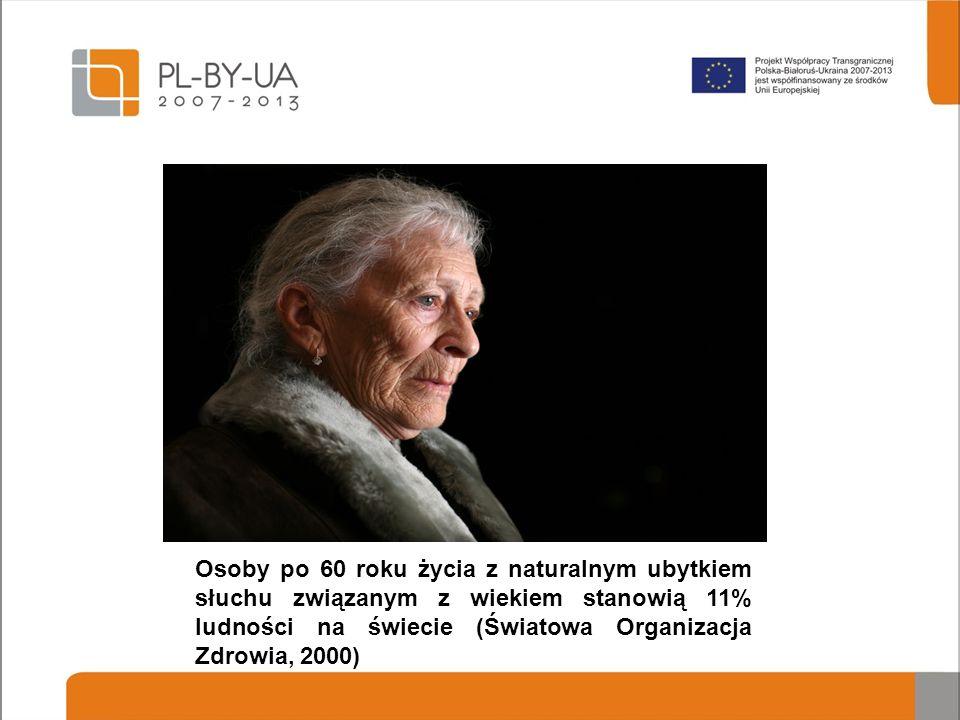 Osoby po 60 roku życia z naturalnym ubytkiem słuchu związanym z wiekiem stanowią 11% ludności na świecie (Światowa Organizacja Zdrowia, 2000)