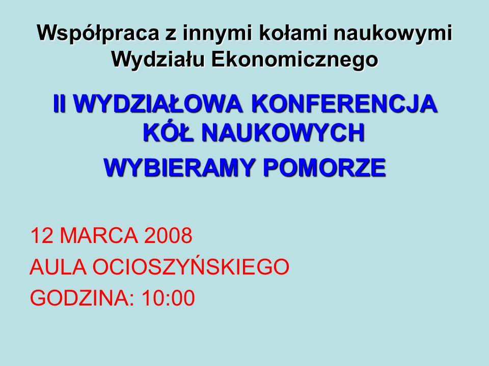 Współpraca z innymi kołami naukowymi Wydziału Ekonomicznego II WYDZIAŁOWA KONFERENCJA KÓŁ NAUKOWYCH WYBIERAMY POMORZE 12 MARCA 2008 AULA OCIOSZYŃSKIEGO GODZINA: 10:00
