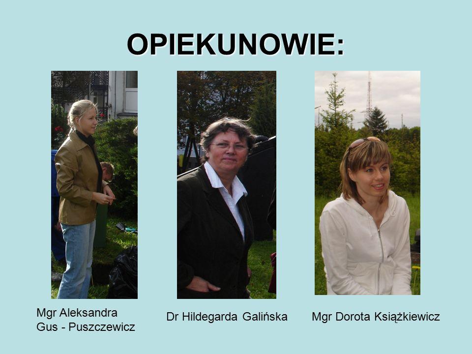 OPIEKUNOWIE: Mgr Dorota KsiążkiewiczDr Hildegarda Galińska Mgr Aleksandra Gus - Puszczewicz