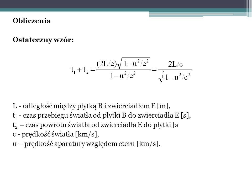 Obliczenia Ostateczny wzór: L - odległość między płytką B i zwierciadłem E [m], t 1 - czas przebiegu światła od płytki B do zwierciadła E [s], t 2 – czas powrotu światła od zwierciadła E do płytki [s c - prędkość światła [km/s], u – prędkość aparatury względem eteru [km/s].