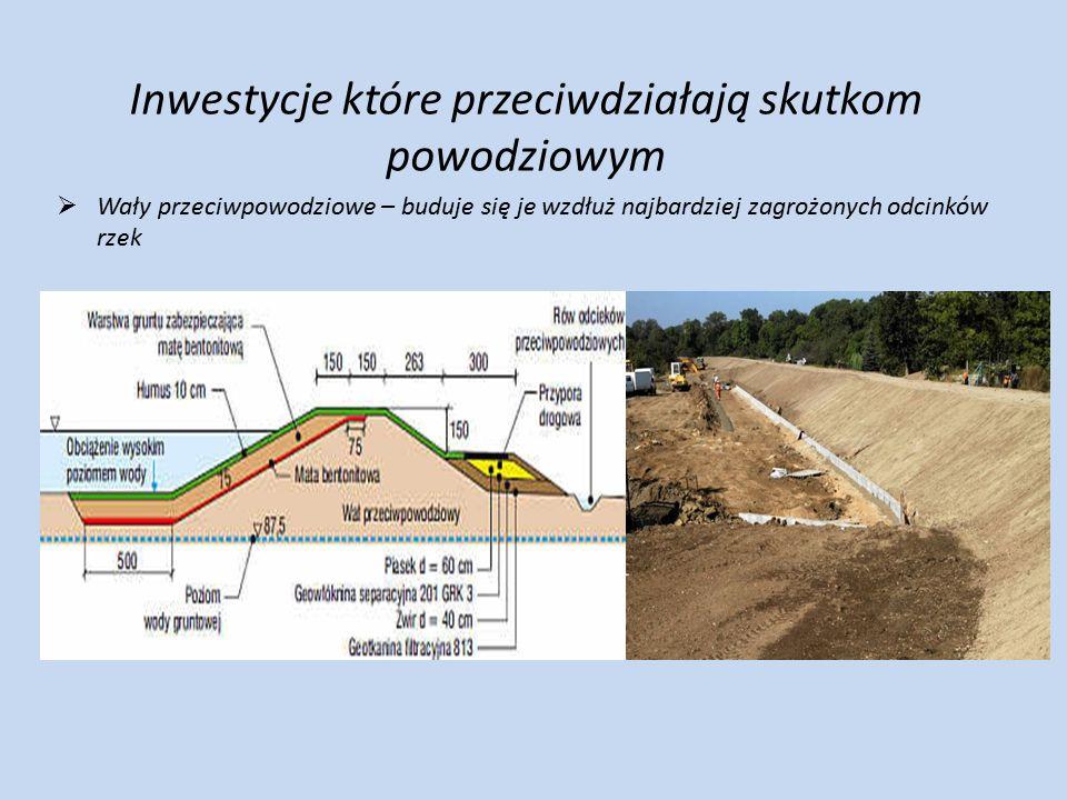 Inwestycje które przeciwdziałają skutkom powodziowym  Wały przeciwpowodziowe – buduje się je wzdłuż najbardziej zagrożonych odcinków rzek  Zbiorniki retencyjne