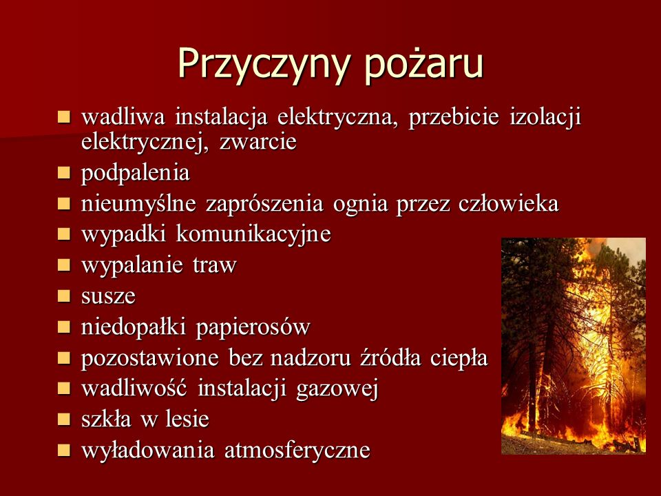 Przyczyny pożaru wadliwa instalacja elektryczna, przebicie izolacji elektrycznej, zwarcie wadliwa instalacja elektryczna, przebicie izolacji elektrycznej, zwarcie podpalenia podpalenia nieumyślne zaprószenia ognia przez człowieka nieumyślne zaprószenia ognia przez człowieka wypadki komunikacyjne wypadki komunikacyjne wypalanie traw wypalanie traw susze susze niedopałki papierosów niedopałki papierosów pozostawione bez nadzoru źródła ciepła pozostawione bez nadzoru źródła ciepła wadliwość instalacji gazowej wadliwość instalacji gazowej szkła w lesie szkła w lesie wyładowania atmosferyczne wyładowania atmosferyczne