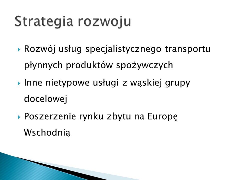  Wąska grupa docelowa klientów powoduje niewielką konkurencję na przewóz specjalistyczny produktów płynnych w cysternach  Firma PAWTRANS jest liderem na rynku Polskim w zakresie transportu produktów spożywczych w cysternach oraz graczem liczącym się na rynku Europejskim  Spółka dysponuje taborem ok.