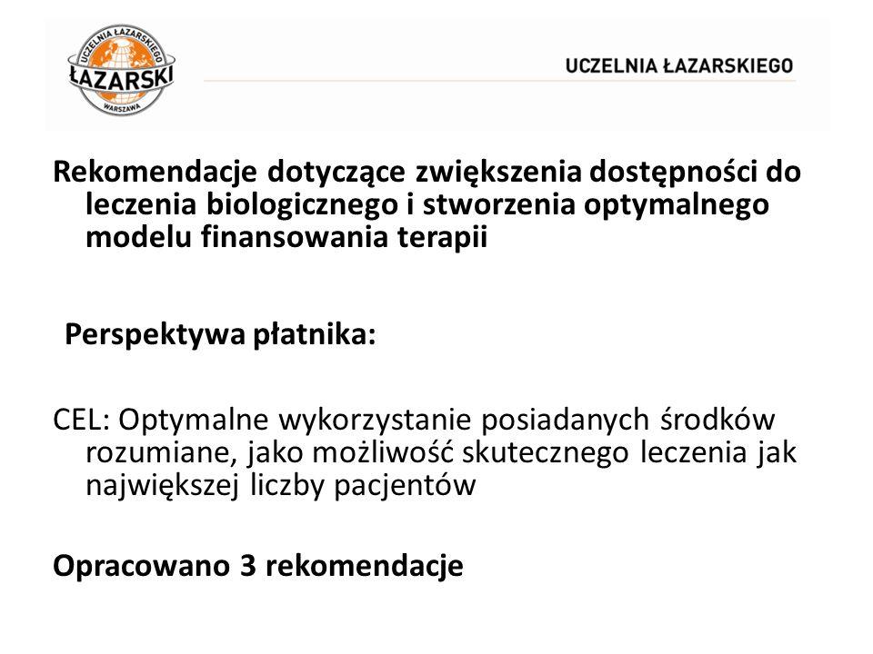Rekomendacje dotyczące zwiększenia dostępności do leczenia biologicznego i stworzenia optymalnego modelu finansowania terapii Perspektywa płatnika: CE