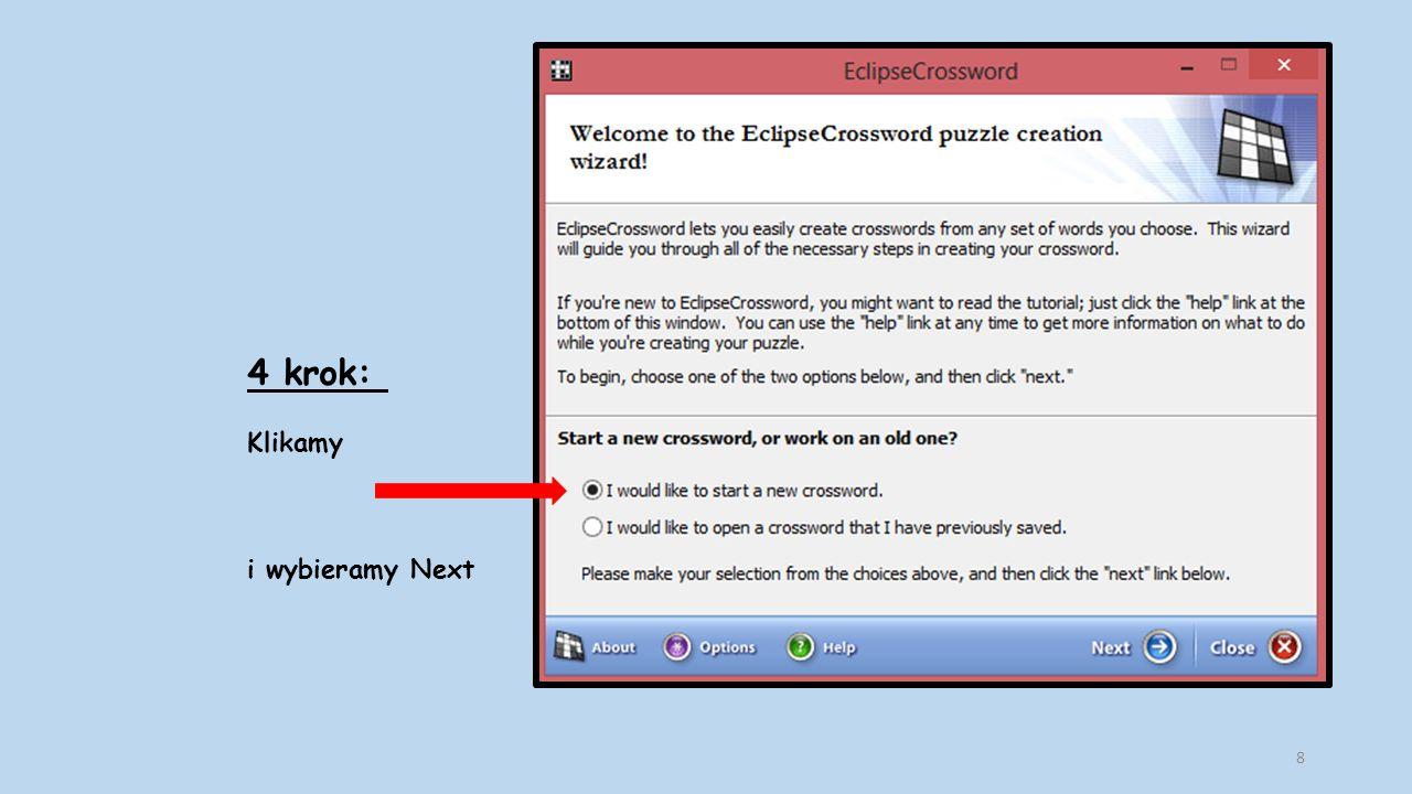 15 krok: Możemy wybrać zakładkę i klikamy W ten sposób zapisujemy krzyżówkę, którą można rozwiązać online.