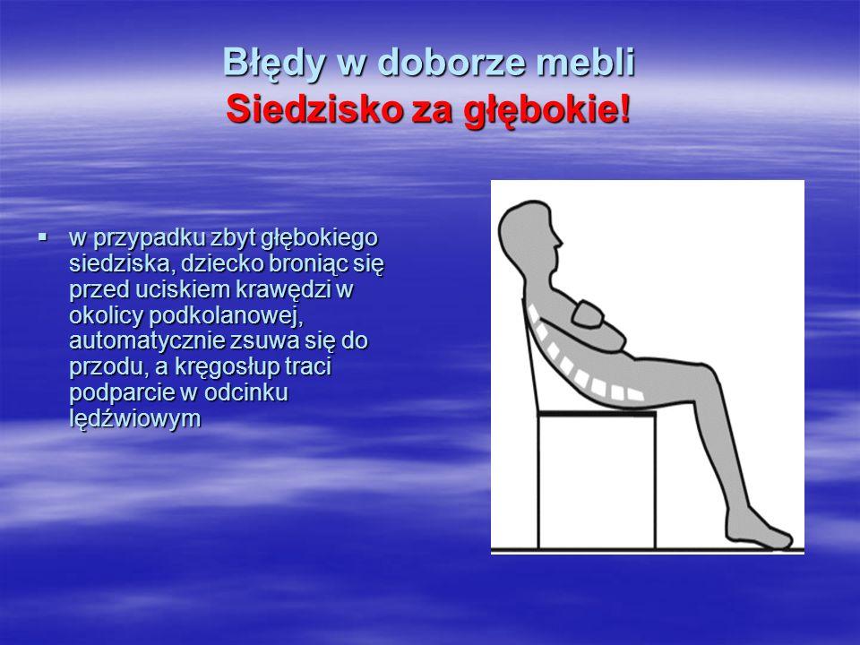 Błędy w doborze mebli Siedzisko za głębokie!  w przypadku zbyt głębokiego siedziska, dziecko broniąc się przed uciskiem krawędzi w okolicy podkolanow