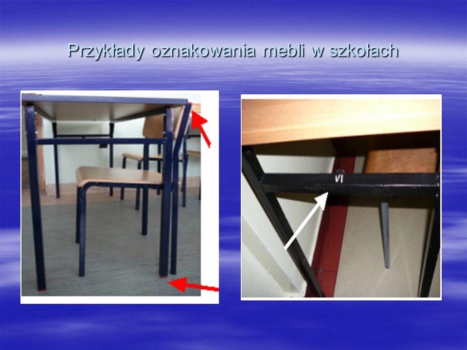 Przykłady oznakowania mebli w szkołach