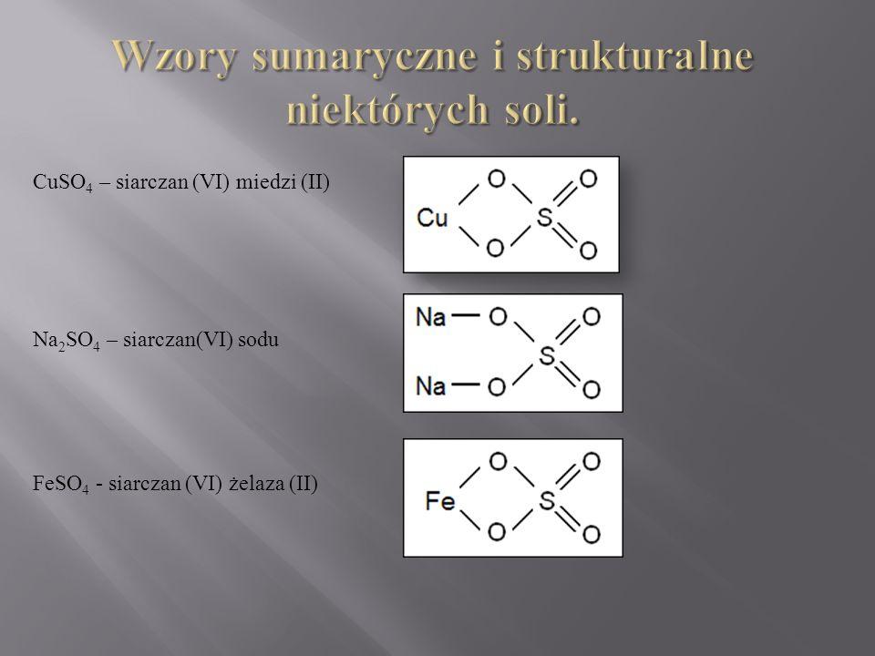 CuSO 4 – siarczan (VI) miedzi (II) Na 2 SO 4 – siarczan(VI) sodu FeSO 4 - siarczan (VI) żelaza (II)
