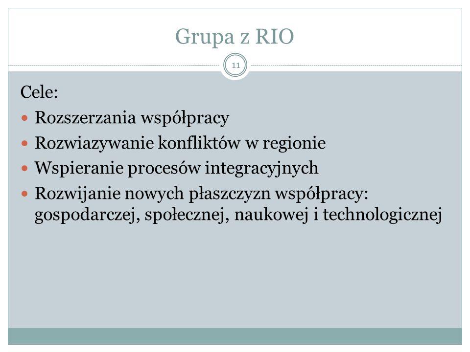 Grupa z RIO 11 Cele: Rozszerzania współpracy Rozwiazywanie konfliktów w regionie Wspieranie procesów integracyjnych Rozwijanie nowych płaszczyzn współpracy: gospodarczej, społecznej, naukowej i technologicznej