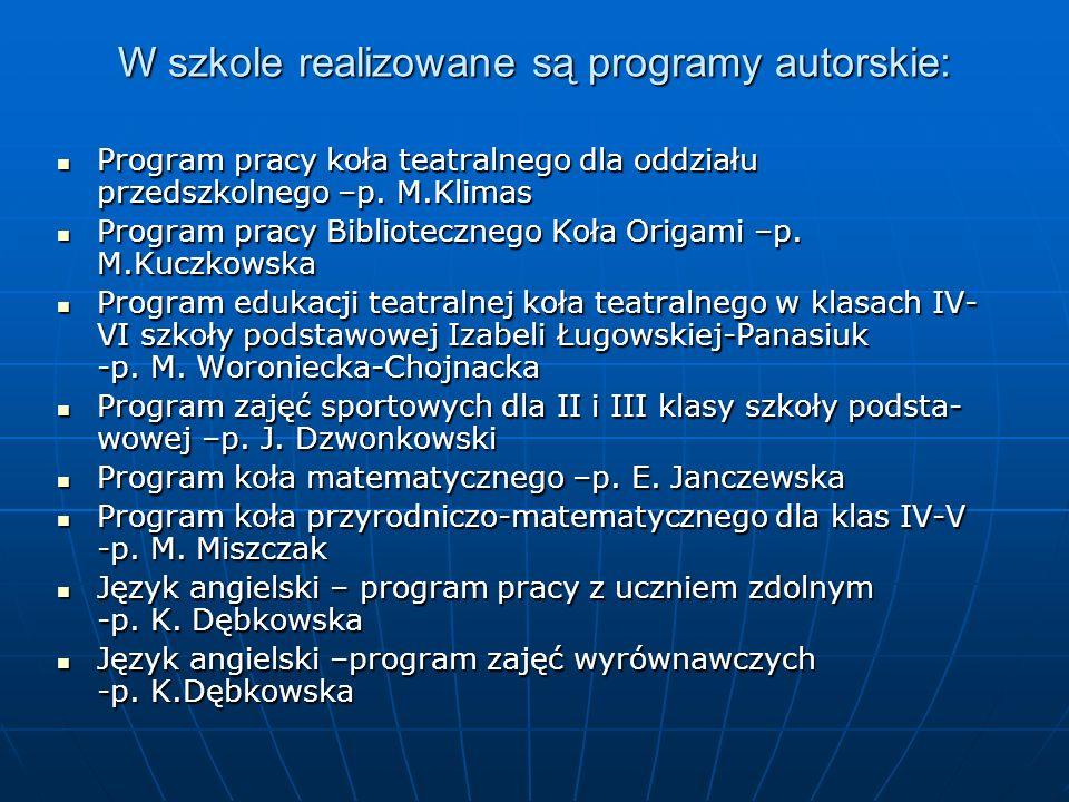 W szkole realizowane są programy autorskie: Program pracy koła teatralnego dla oddziału przedszkolnego –p.