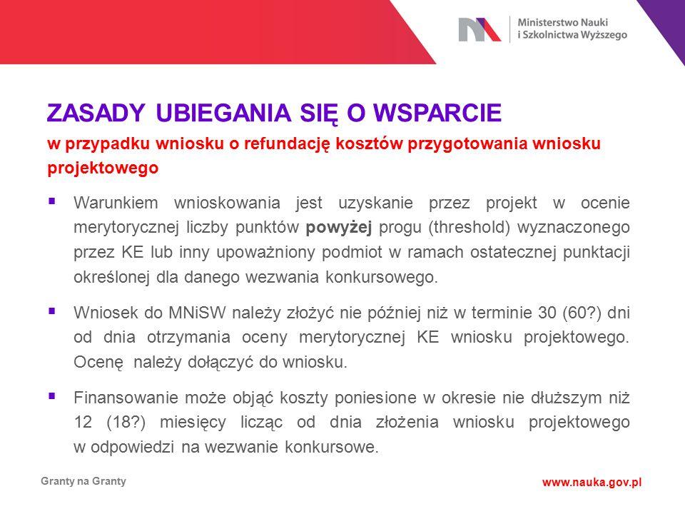ZASADY UBIEGANIA SIĘ O WSPARCIE w przypadku wniosku o refundację kosztów przygotowania wniosku projektowego Granty na Granty www.nauka.gov.pl  Warunk