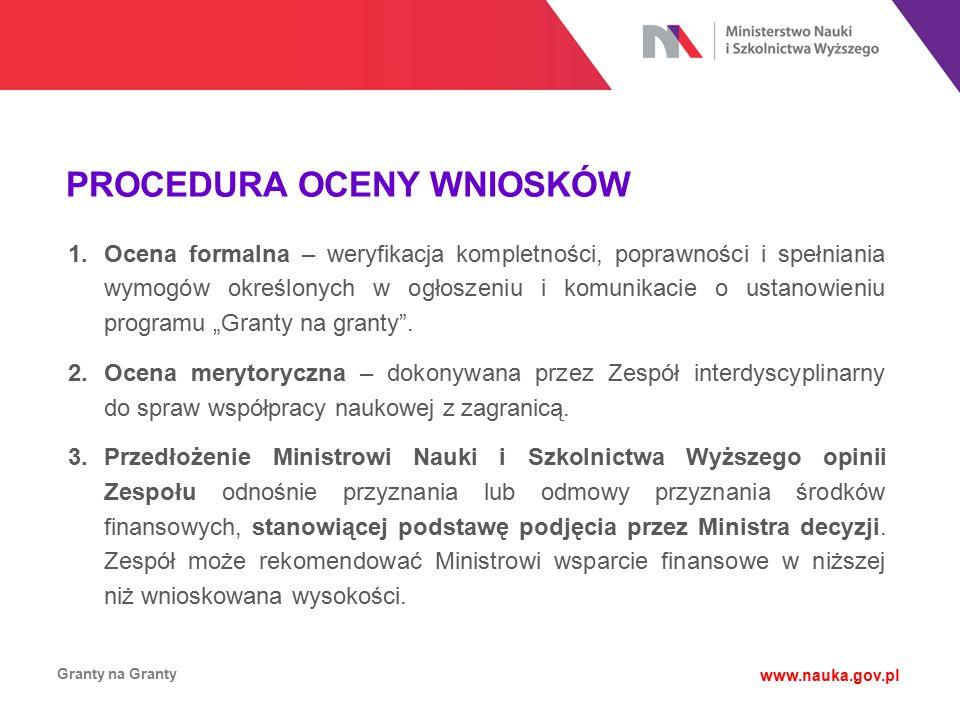 PROCEDURA OCENY WNIOSKÓW Granty na Granty www.nauka.gov.pl 1.Ocena formalna – weryfikacja kompletności, poprawności i spełniania wymogów określonych w