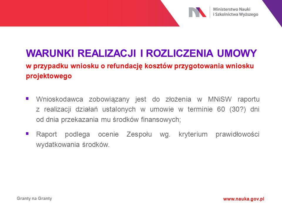 WARUNKI REALIZACJI I ROZLICZENIA UMOWY w przypadku wniosku o refundację kosztów przygotowania wniosku projektowego Granty na Granty www.nauka.gov.pl 