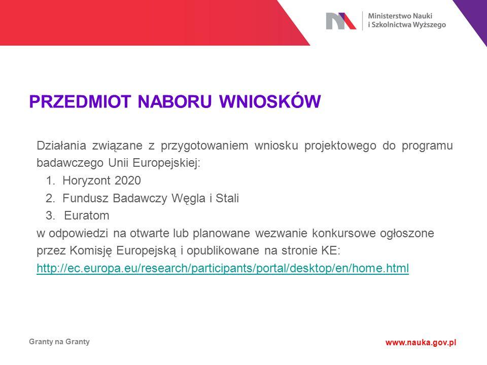 PRZEDMIOT NABORU WNIOSKÓW Granty na Granty www.nauka.gov.pl Działania związane z przygotowaniem wniosku projektowego do programu badawczego Unii Europ