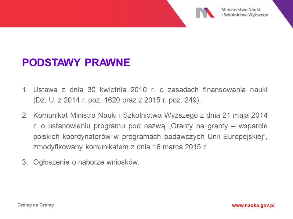 PODSTAWY PRAWNE Granty na Granty www.nauka.gov.pl 1.Ustawa z dnia 30 kwietnia 2010 r. o zasadach finansowania nauki (Dz. U. z 2014 r. poz. 1620 oraz z