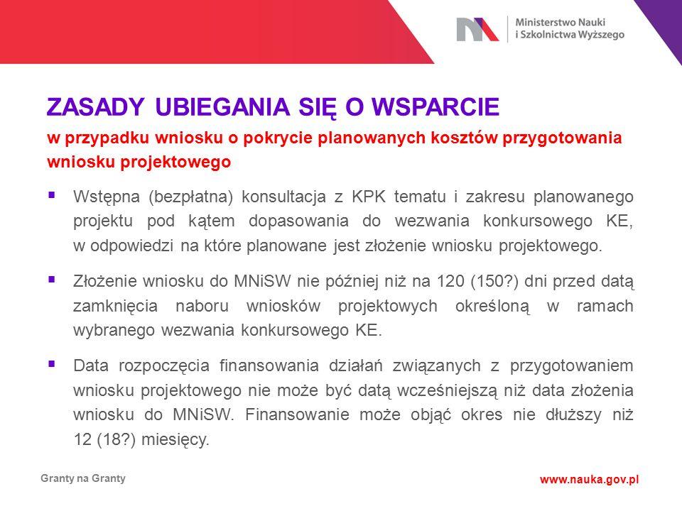 ZASADY UBIEGANIA SIĘ O WSPARCIE w przypadku wniosku o pokrycie planowanych kosztów przygotowania wniosku projektowego Granty na Granty www.nauka.gov.p