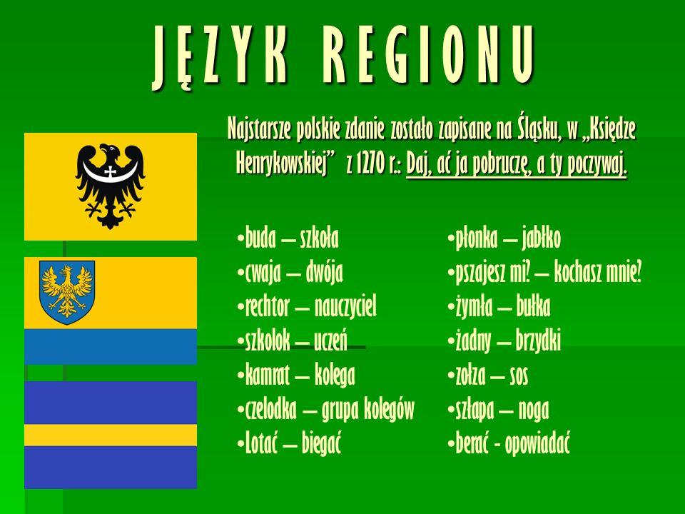 """J Ę Z Y K R E G I O N U Najstarsze polskie zdanie zostało zapisane na Śląsku, w """"Księdze Henrykowskiej z 1270 r.: Daj, ać ja pobruczę, a ty poczywaj."""