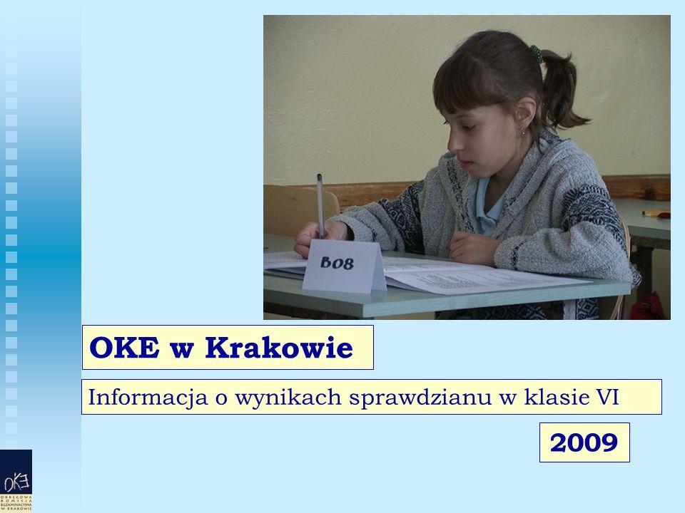 Informacja o wynikach sprawdzianu w klasie VI OKE w Krakowie 2009
