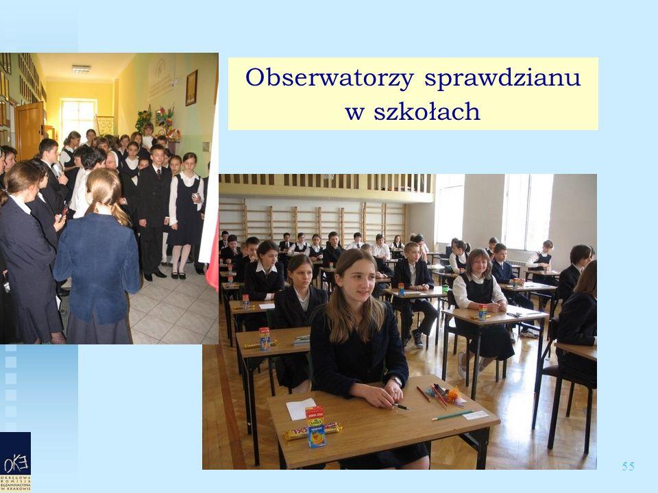 55 Obserwatorzy sprawdzianu w szkołach