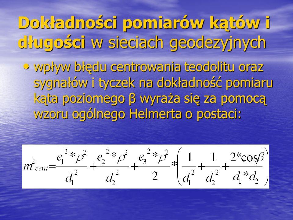 Dokładności pomiarów kątów i długości w sieciach geodezyjnych wpływ błędu centrowania teodolitu oraz sygnałów i tyczek na dokładność pomiaru kąta poziomego β wyraża się za pomocą wzoru ogólnego Helmerta o postaci: wpływ błędu centrowania teodolitu oraz sygnałów i tyczek na dokładność pomiaru kąta poziomego β wyraża się za pomocą wzoru ogólnego Helmerta o postaci: