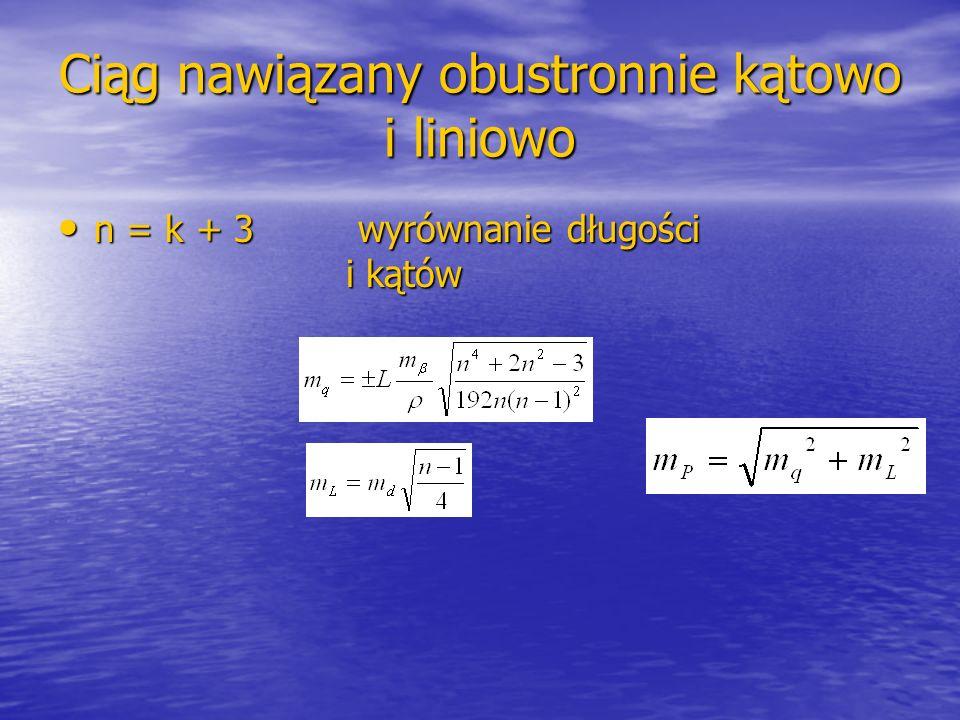 Ciąg nawiązany obustronnie kątowo i liniowo n = k + 3 wyrównanie długości i kątów n = k + 3 wyrównanie długości i kątów