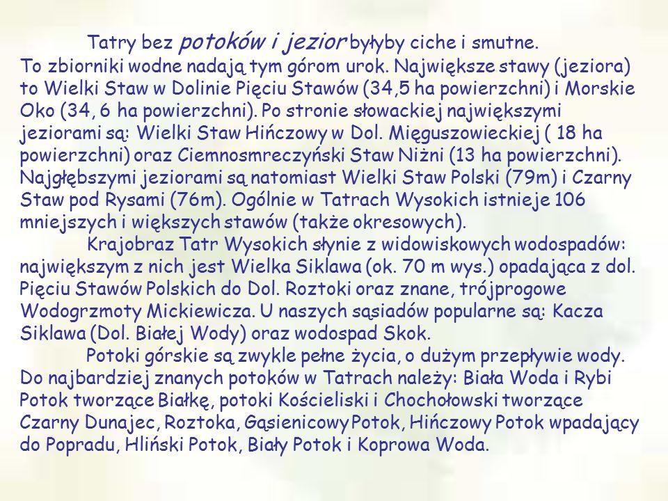 Tatry bez potoków i jezior byłyby ciche i smutne. To zbiorniki wodne nadają tym górom urok. Największe stawy (jeziora) to Wielki Staw w Dolinie Pięciu