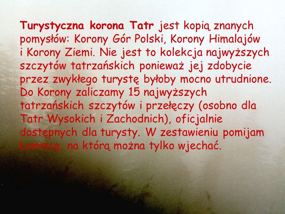 Turystyczna korona Tatr jest kopią znanych pomysłów: Korony Gór Polski, Korony Himalajów i Korony Ziemi. Nie jest to kolekcja najwyższych szczytów tat