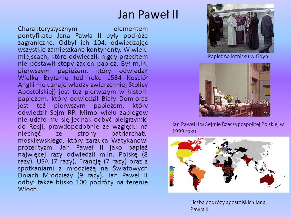 Jan Paweł II Charakterystycznym elementem pontyfikatu Jana Pawła II były podróże zagraniczne. Odbył ich 104, odwiedzając wszystkie zamieszkane kontyne