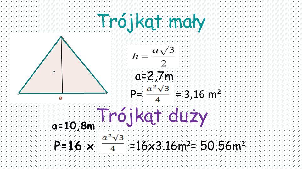 Trójkąt mały a=2,7m P= Trójkąt duży P=16 x =16x3.16m ² = 50,56m ² a=10,8m = 3,16 m²