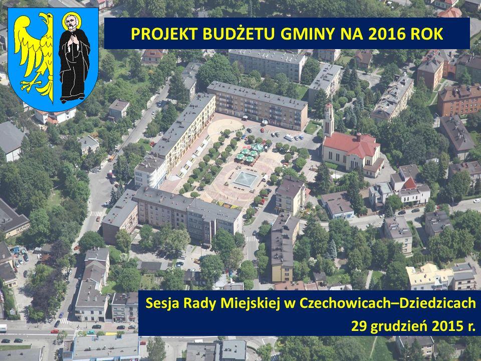 PROJEKT BUDŻETU GMINY NA 2016 ROK Sesja Rady Miejskiej w Czechowicach–Dziedzicach 29 grudzień 2015 r.