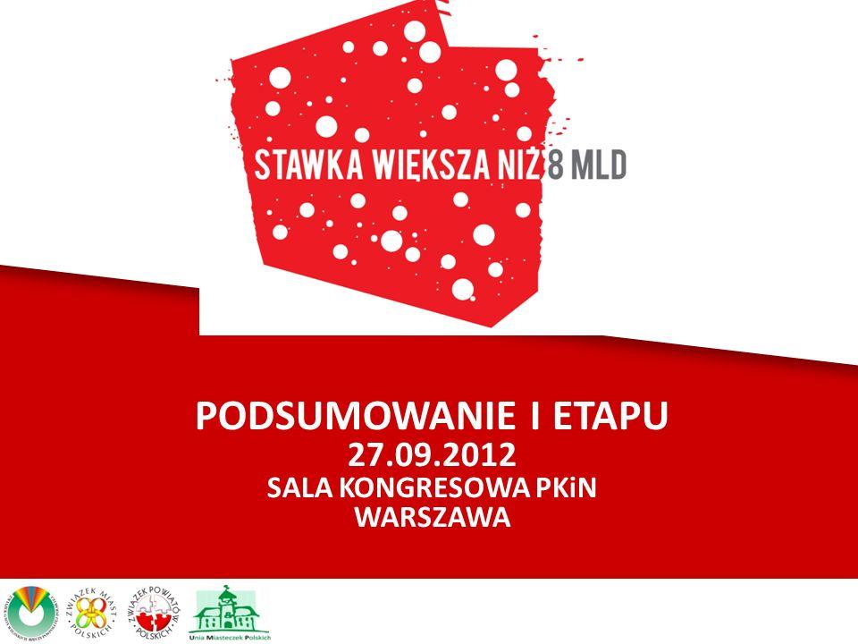 PODSUMOWANIE I ETAPU 27.09.2012 SALA KONGRESOWA PKiN WARSZAWA