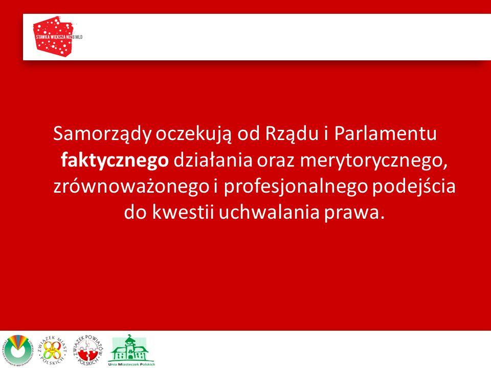 Samorządy oczekują od Rządu i Parlamentu faktycznego działania oraz merytorycznego, zrównoważonego i profesjonalnego podejścia do kwestii uchwalania prawa.