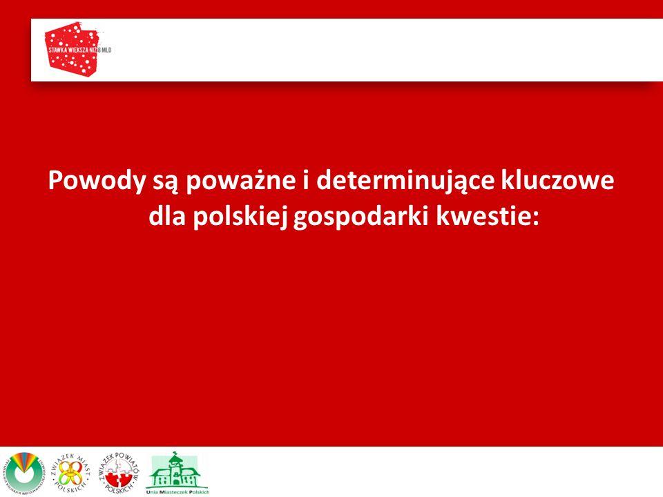 Powody są poważne i determinujące kluczowe dla polskiej gospodarki kwestie:
