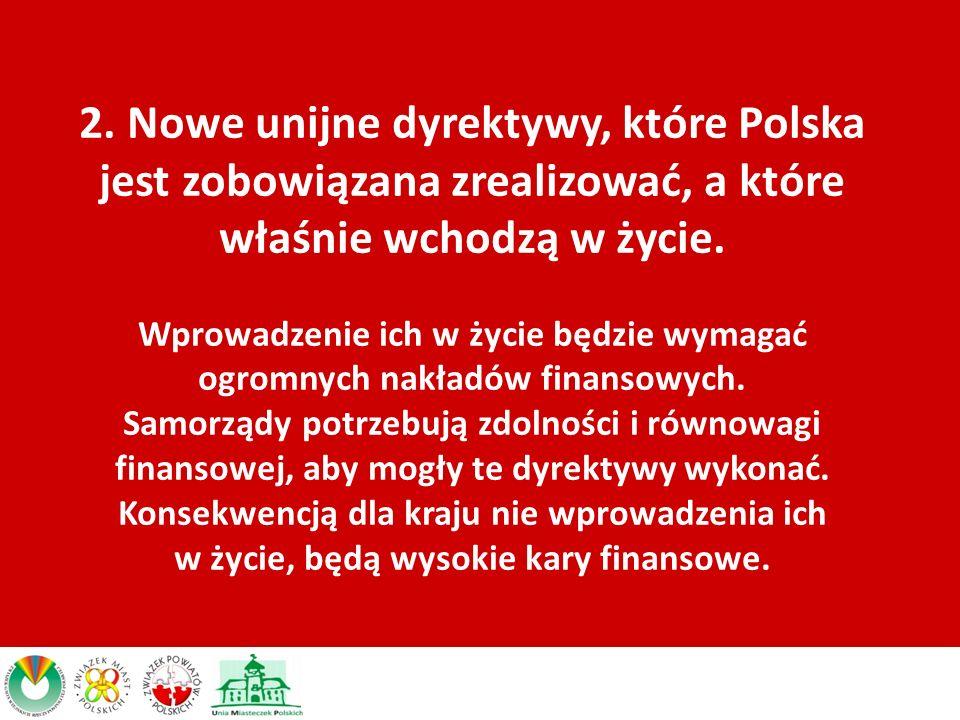 2. Nowe unijne dyrektywy, które Polska jest zobowiązana zrealizować, a które właśnie wchodzą w życie. Wprowadzenie ich w życie będzie wymagać ogromnyc