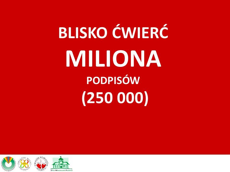BLISKO ĆWIERĆ MILIONA PODPISÓW (250 000)