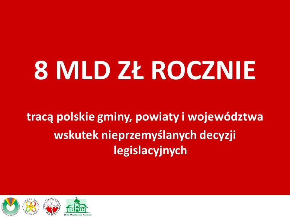 8 MLD ZŁ ROCZNIE tracą polskie gminy, powiaty i województwa wskutek nieprzemyślanych decyzji legislacyjnych
