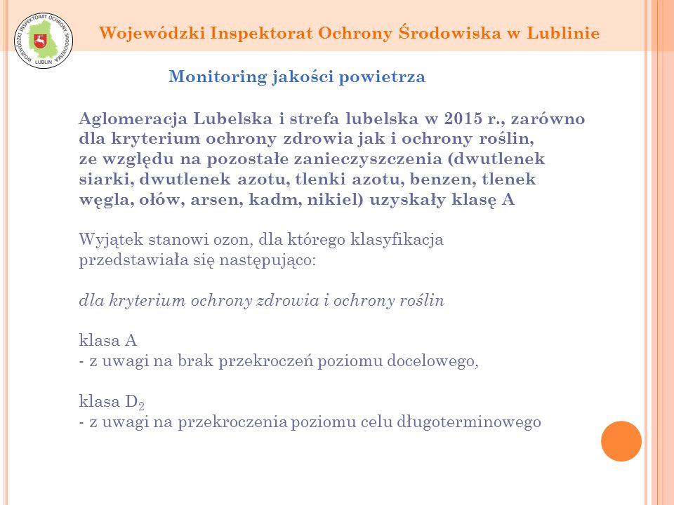 Wojewódzki Inspektorat Ochrony Środowiska w Lublinie Monitoring jakości powietrza Aglomeracja Lubelska i strefa lubelska w 2015 r., zarówno dla kryterium ochrony zdrowia jak i ochrony roślin, ze względu na pozostałe zanieczyszczenia (dwutlenek siarki, dwutlenek azotu, tlenki azotu, benzen, tlenek węgla, ołów, arsen, kadm, nikiel) uzyskały klasę A Wyjątek stanowi ozon, dla którego klasyfikacja przedstawiała się następująco: dla kryterium ochrony zdrowia i ochrony roślin klasa A - z uwagi na brak przekroczeń poziomu docelowego, klasa D 2 - z uwagi na przekroczenia poziomu celu długoterminowego