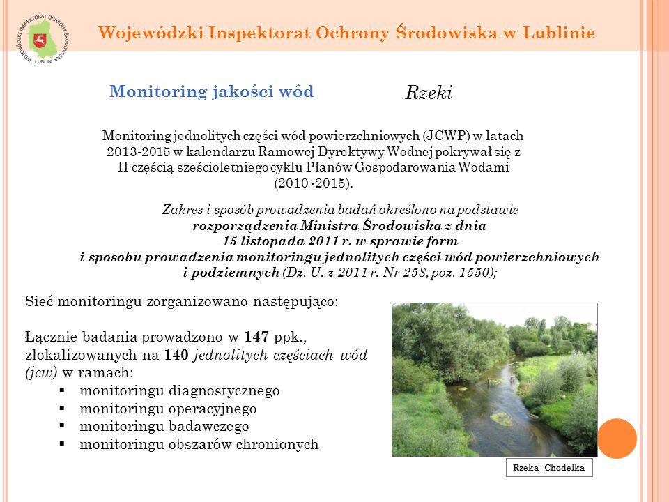 Rzeka Chodelka Sieć monitoringu zorganizowano następująco: Łącznie badania prowadzono w 147 ppk., zlokalizowanych na 140 jednolitych częściach wód (jcw) w ramach:  monitoringu diagnostycznego  monitoringu operacyjnego  monitoringu badawczego  monitoringu obszarów chronionych Monitoring jednolitych części wód powierzchniowych (JCWP) w latach 2013-2015 w kalendarzu Ramowej Dyrektywy Wodnej pokrywał się z II częścią sześcioletniego cyklu Planów Gospodarowania Wodami (2010 -2015).