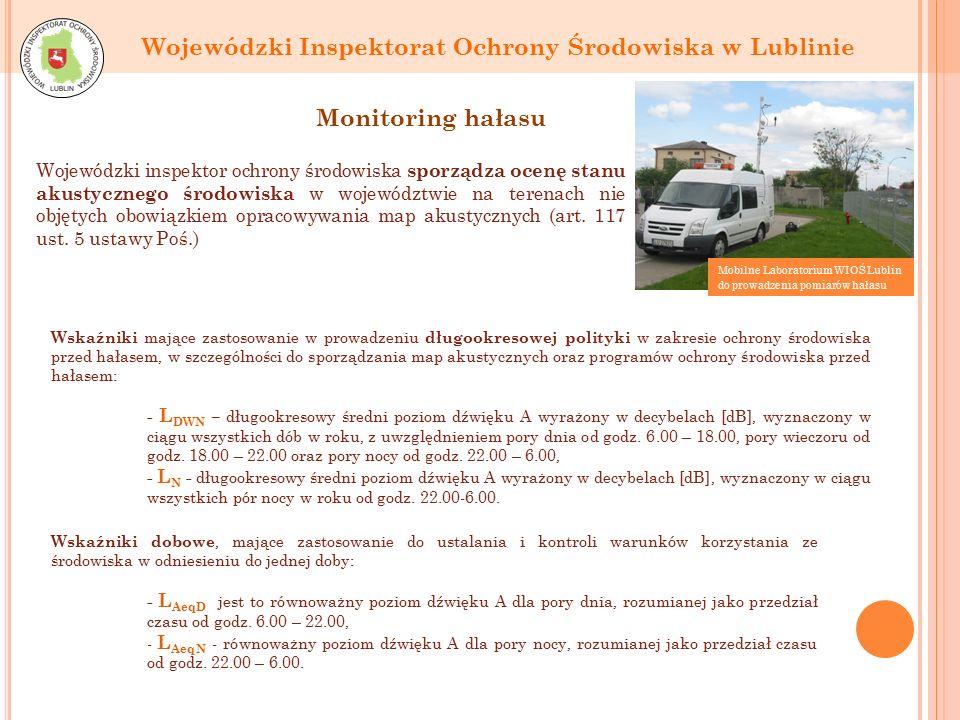 Monitoring hałasu Wojewódzki inspektor ochrony środowiska sporządza ocenę stanu akustycznego środowiska w województwie na terenach nie objętych obowiązkiem opracowywania map akustycznych (art.