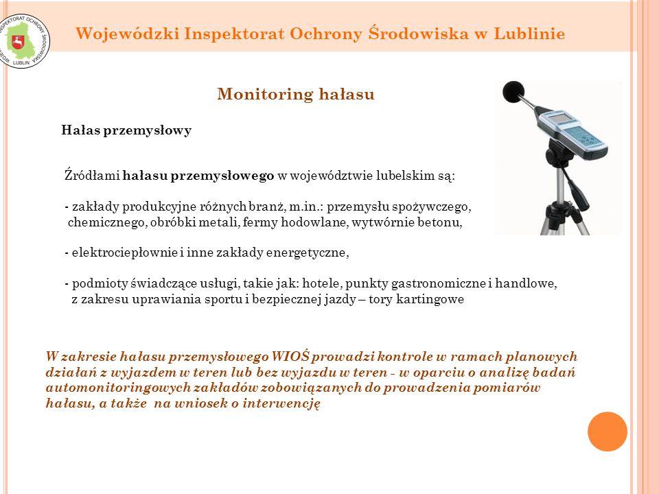 Wojewódzki Inspektorat Ochrony Środowiska w Lublinie Źródłami hałasu przemysłowego w województwie lubelskim są: - zakłady produkcyjne różnych branż, m.in.: przemysłu spożywczego, chemicznego, obróbki metali, fermy hodowlane, wytwórnie betonu, - elektrociepłownie i inne zakłady energetyczne, - podmioty świadczące usługi, takie jak: hotele, punkty gastronomiczne i handlowe, z zakresu uprawiania sportu i bezpiecznej jazdy – tory kartingowe Monitoring hałasu W zakresie hałasu przemysłowego WIOŚ prowadzi kontrole w ramach planowych działań z wyjazdem w teren lub bez wyjazdu w teren - w oparciu o analizę badań automonitoringowych zakładów zobowiązanych do prowadzenia pomiarów hałasu, a także na wniosek o interwencję Hałas przemysłowy