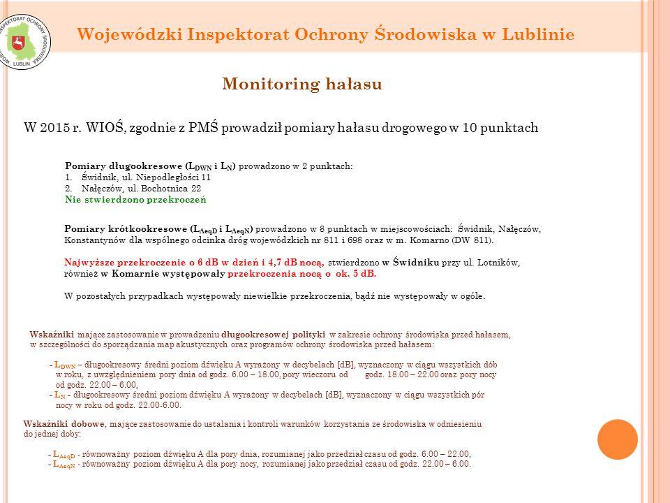 Wojewódzki Inspektorat Ochrony Środowiska w Lublinie Monitoring hałasu W 2015 r.