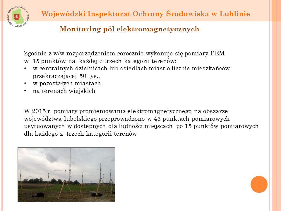 Wojewódzki Inspektorat Ochrony Środowiska w Lublinie Monitoring pól elektromagnetycznych Zgodnie z w/w rozporządzeniem corocznie wykonuje się pomiary PEM w 15 punktów na każdej z trzech kategorii terenów: w centralnych dzielnicach lub osiedlach miast o liczbie mieszkańców przekraczającej 50 tys., w pozostałych miastach, na terenach wiejskich W 2015 r.