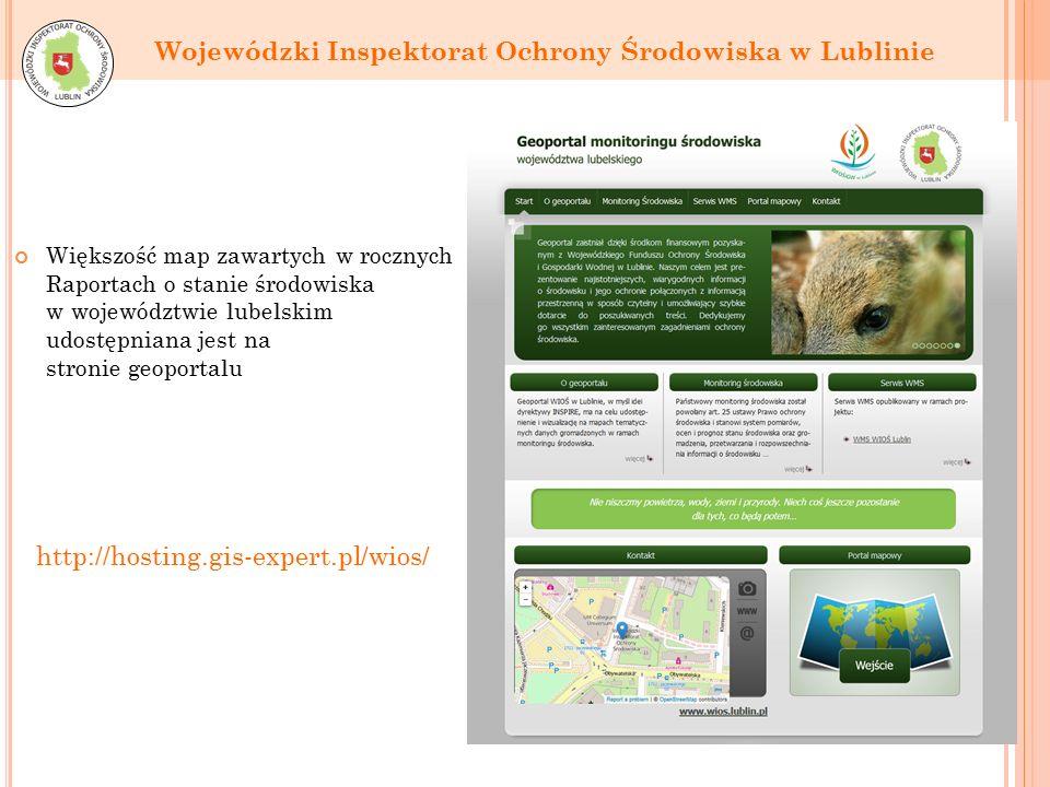 Większość map zawartych w rocznych Raportach o stanie środowiska w województwie lubelskim udostępniana jest na stronie geoportalu Wojewódzki Inspektorat Ochrony Środowiska w Lublinie http://hosting.gis-expert.pl/wios/