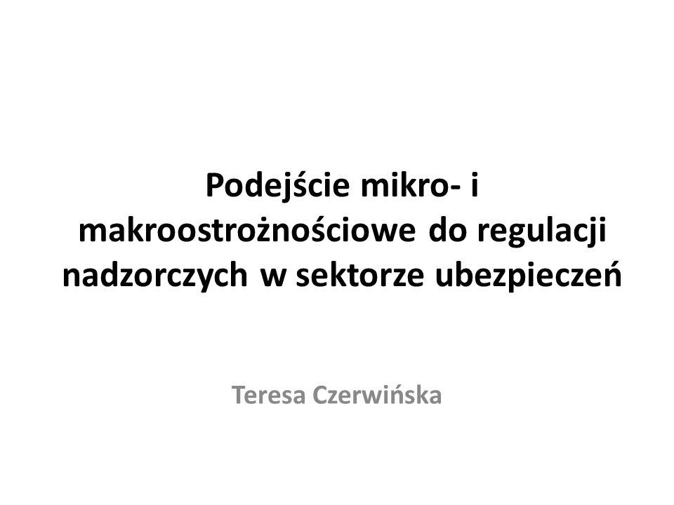 Podejście mikro- i makroostrożnościowe do regulacji nadzorczych w sektorze ubezpieczeń Teresa Czerwińska
